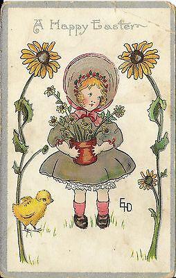 2@1 Antique Easter Postcard Little Girl Angel Cherub Artist Painting an Easter Egg wCountry Scene Stars /& Flower Trim