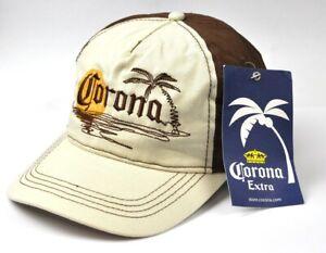 Corona-Extra-Bier-USA-Kappe-Muetze-Baseball-Cap-Kaeppi-Schirmmuetze-braun-weiss