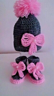 Zapatos de Bebé de Ganchillo hecho a mano y sombrero entrenadores Abotinados Botas Cordones Tapas De Tejer