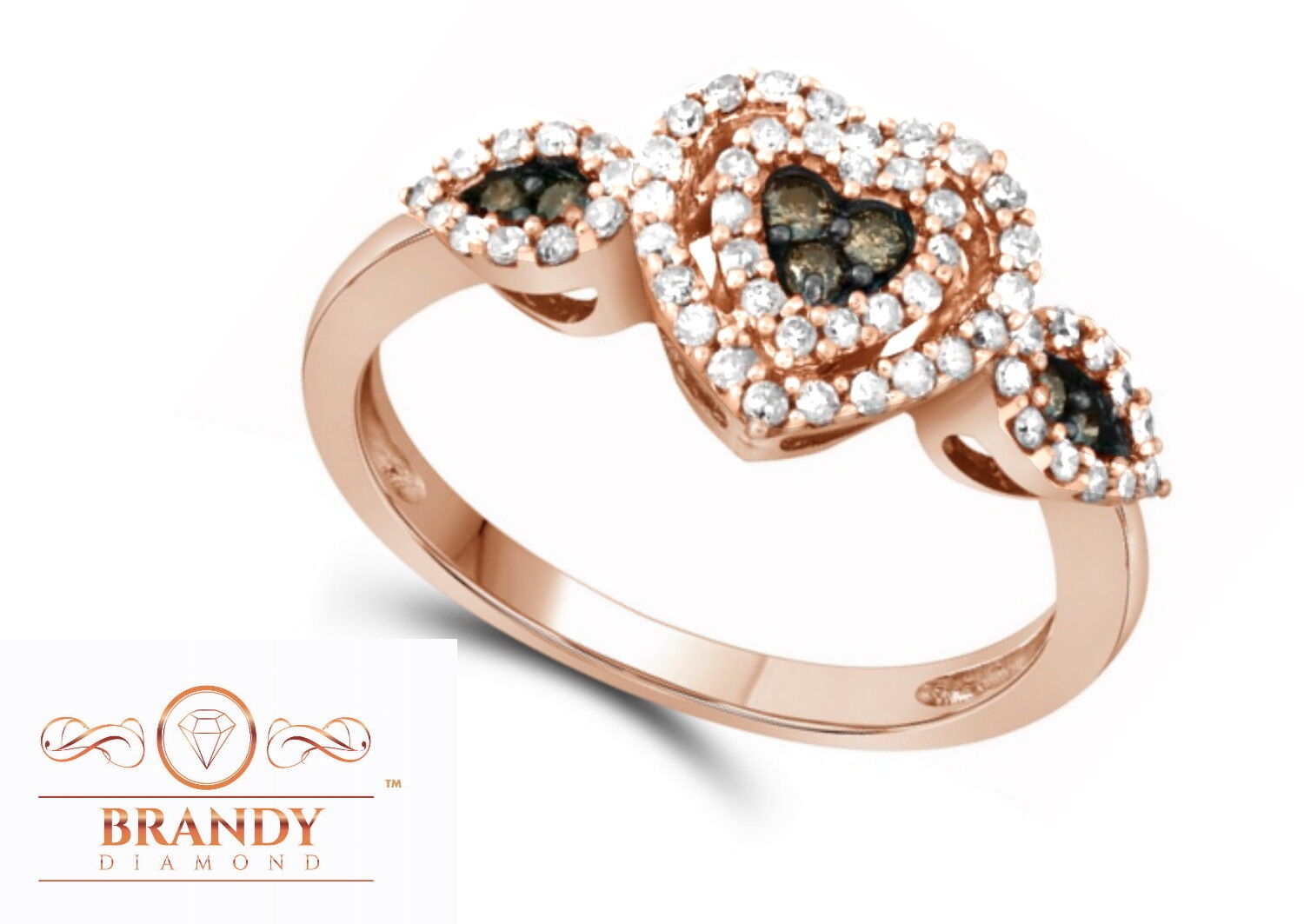 Brandy Diamond® Chocolate Brown 10K gold Triple Heart Beautiful Angel Ring .45Ct