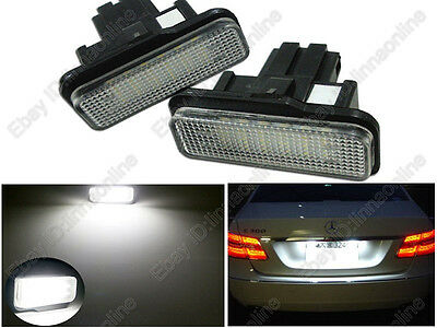 2pcs White LED License Plate Light Benz W211 E-Class E300 E320 E350 E500 E55AMG