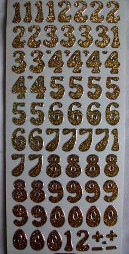 Zahlen Stickerbogen große Auswahl in gold und silber Ziffern