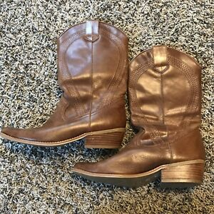 496b5499317 Details about Women's NEW LOOK Brown Leather Western Boots Cowboy Boots  Size 5/38 - US Size 7