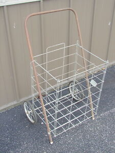 Vintage Collapsible Folding Wire Cart Basket Shopping