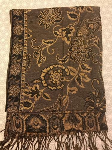 Retro Vintage Scarf Paisley Pashmina Wrap Classic Winter /'Gold/' Thread Flower