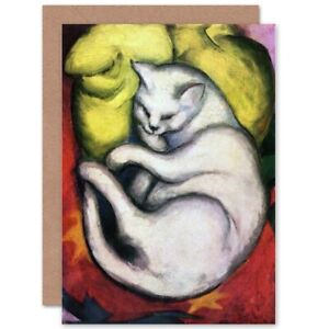 Franz-Marc-Cat-On-Yellow-Cushion-Old-Master-Blank-Greeting-Card-With-Envelope
