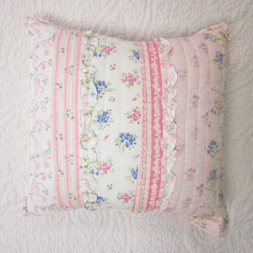 """16/"""" RUFFLE RAG SHABBY FLORAL TOSS ACCENT PINK ROMANTIC CHIC LACE PILLOW"""