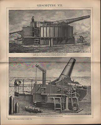 Humorvoll Lithografie 1902: GeschÜtze. I-viii. Geschosse. Krieg Kanone Munition Gewehr