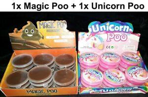 2x-Zauberknete-Poo-Knetmasse-Magic-Einhorn-Pups-Glitzer-Scheisshaufen-Superknete