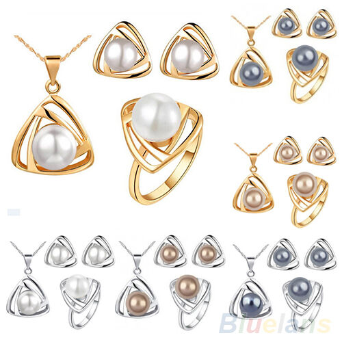 Stunning Womens Fashion Jewelry Set Pearl Triangular Necklace Earrings Ring Gift