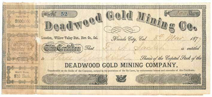 1877 Deadwood Gold Mining Co. Nevada City, CA Stock Cer