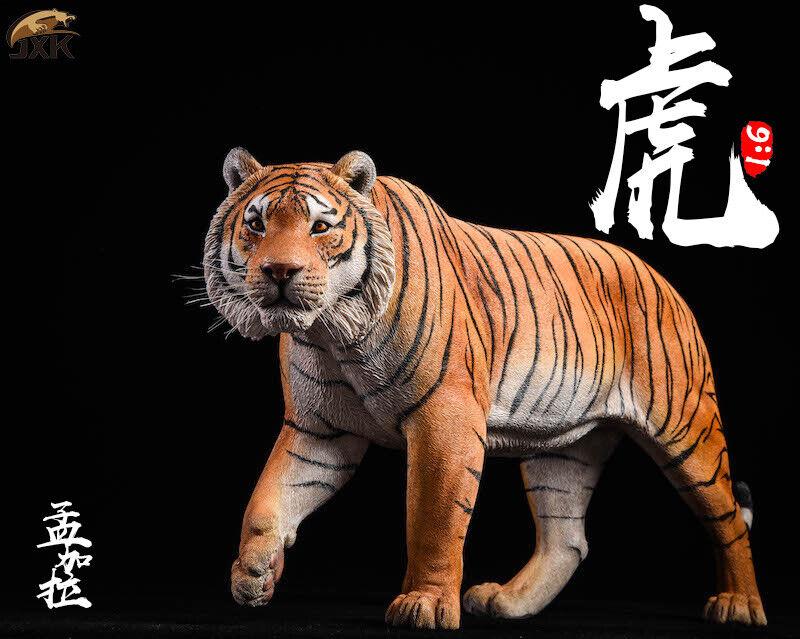 JxK JXK012 1 6th Yellow Bengal Tiger Animal Animal Animal Statue Model Toy Gift 302b6b