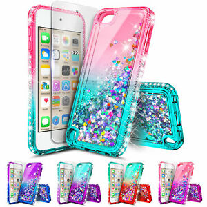 iPod-Touch-5th-6th-7th-Gen-Case-Glitter-Liquid-Bling-Cover-Screen-Protector