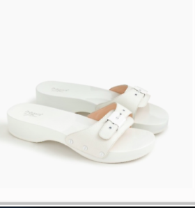 Scholl/'s original collection J Crew White wood leather sandals Wedding shoe Dr