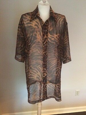 Stunning SHAN Swimsuit Coverup Dress Sheer Animal Print Sz Large
