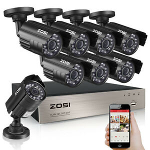 ZOSI 8CH 1080P CCTV DVR 1500TVL Outdoor 720P Night Vision Security ...