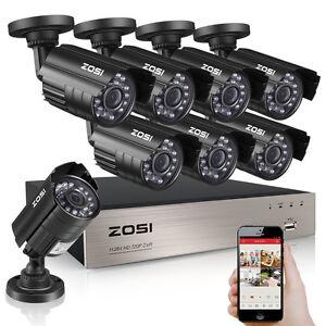zosi 8ch 1080p cctv dvr 1500tvl outdoor 720p night vision