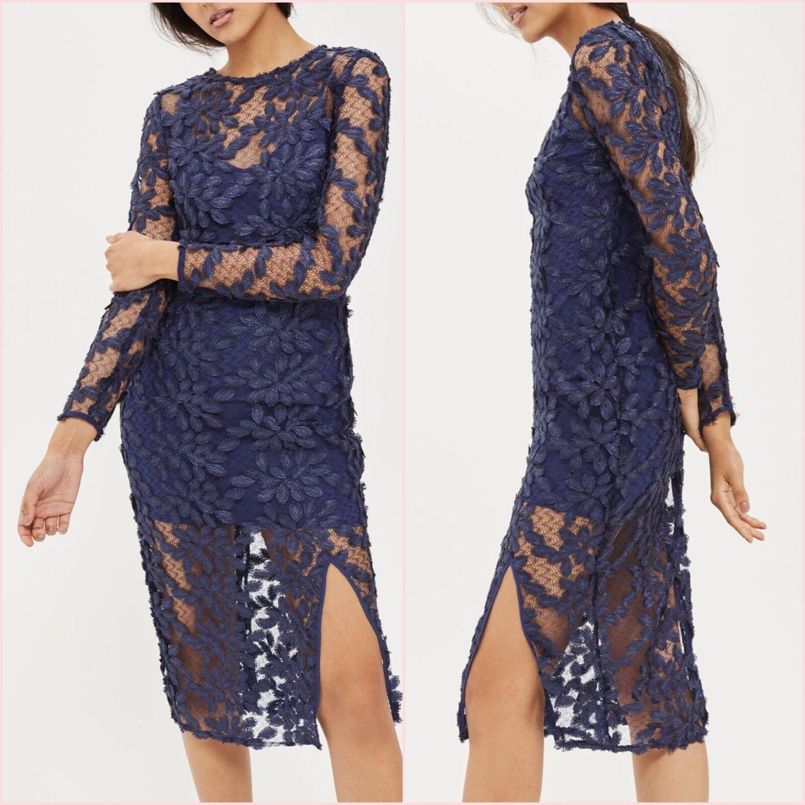 Topshop Blau Navy Navy Navy Lace Floral Midi Slit Hem Bodycon Dress Größe 8 US 4 Blogger   | Ausgezeichnetes Handwerk  | Clearance Sale  245a87