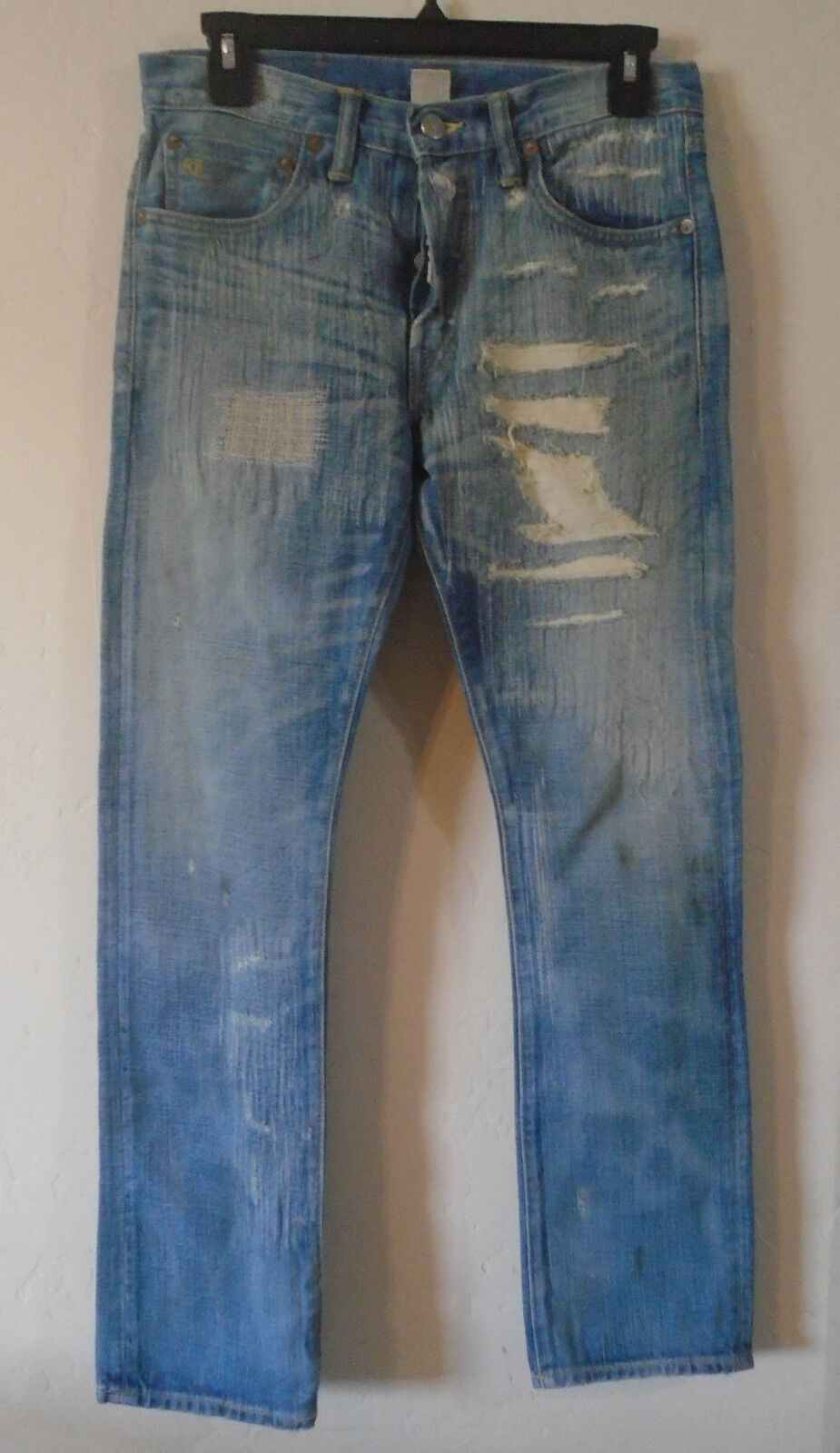 RRL DOUBLE RL 25  360 Distressed Button Fly Straight Leg BOY FIT bluee Jeans USA
