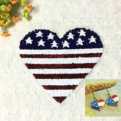 USA American Flag Style Love-Heart Design Red Blue Earrings and Sequin Patch