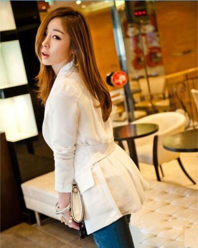 Women Ladies Long Sleeve Chiffon Blazer Jacket Coat Cardigan Size 4 6 8 10 12