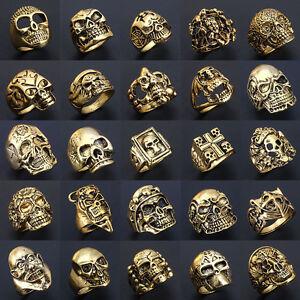 Wholesale-Mixed-Lots-Big-Skull-Gold-Men-039-s-Rings-Fashion-Jewelry-Biker-Punk-Ring