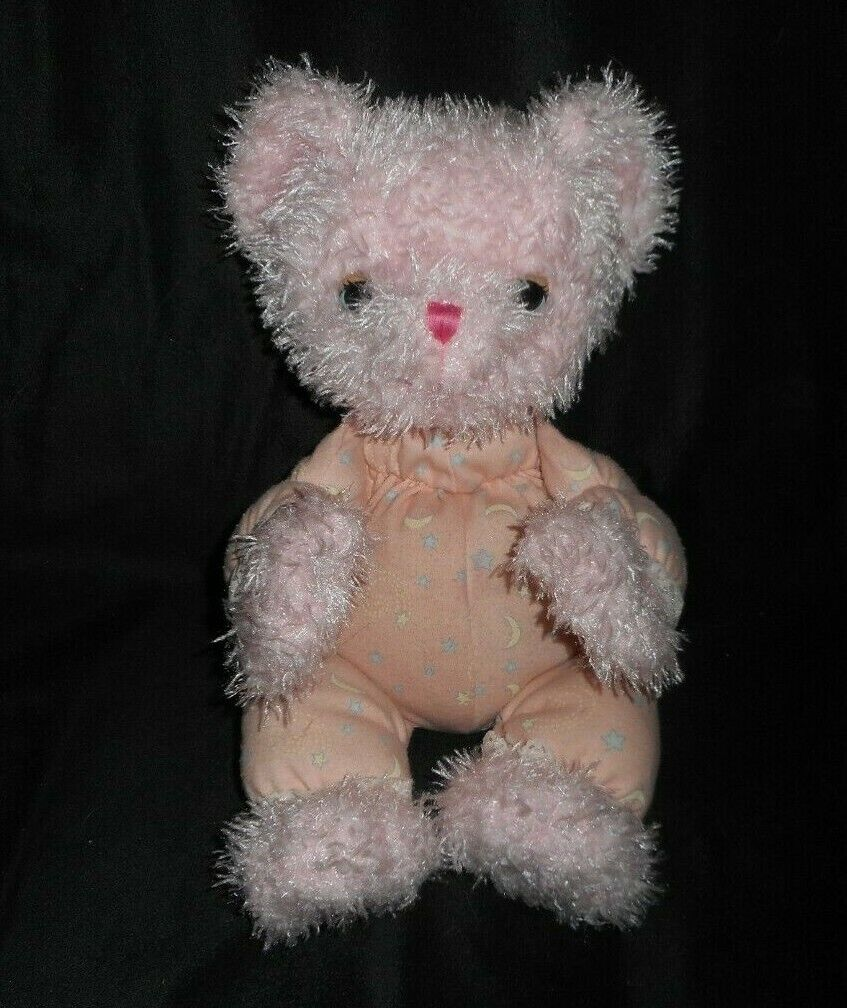 12  MATTEL 2002 SHINING STARS rosa TEDDY BEAR STUFFED ANIMAL PLUSH TOY GLOW DARK