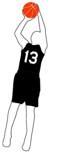 Basketball Jump Shot Boy Vinyl Window Decal Choose Jersey Number 0-25 and Color