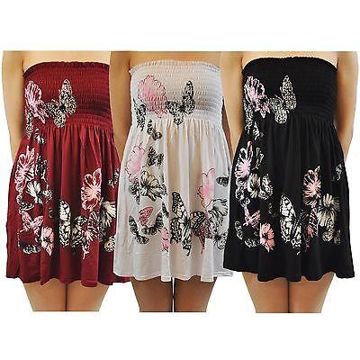 New Ladies Floral Print Strapless Mini Dress 8-20