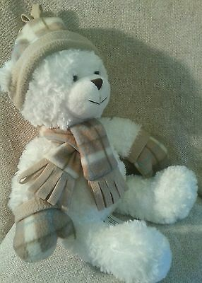 20 in Stuffed  White Bear staying warm with a red checkered double sided scarf