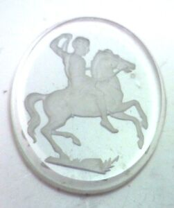 NOS-Antique-Vintage-Crystal-Large-Oval-Intaglio-Reverse-Cameo-Stone-Horse-C310