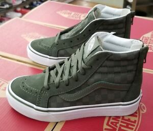 a20502f0d37c8c Image is loading VANS-SK8-HI-ZIP-KIDS-CHECKERBOARD-DUSTY-OLIVE-