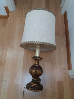 Antica grande lampada da tavolo in legno dorato e anticato vintage (senza capp) | eBay