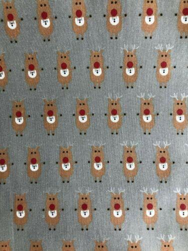 "100/% coton riche Noël Rudolph renne tissu matériau large 56/"" Argent"