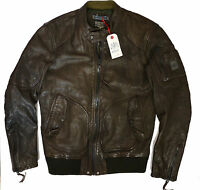 £570 REPLAY Real Leather Bomber Jacket Size-L NEW  WITH DEFECT Made in Italy