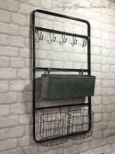 Image Is Loading Vintage Industrial Style Metal Wall Shelf Unit Rack