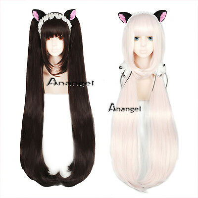Nekopara Chocolat Vanilla Cosplay Wig Long Clip Ponytails Costume Halloween wigs