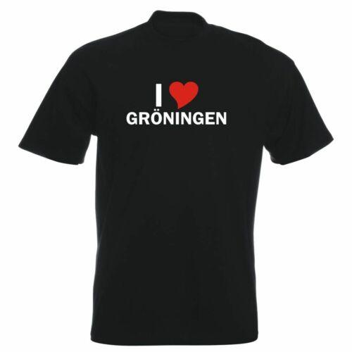 Stadt Party Fasching T-Shirt mit Städtenamen Herren i Love Gröningen