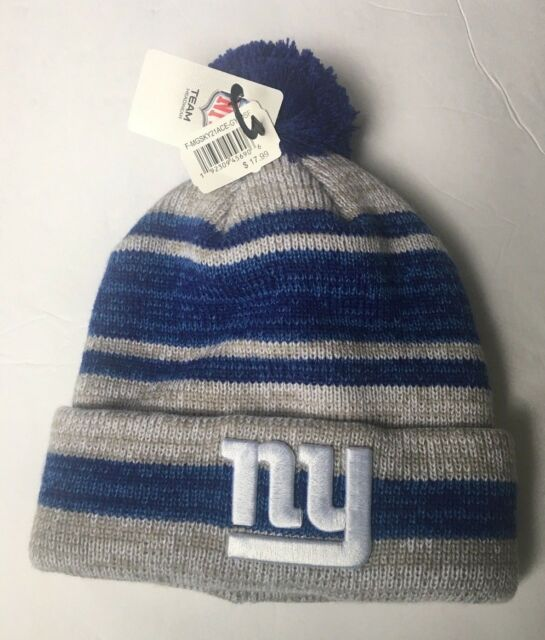 79e9a8e9d4e NY Giants Knit Hat Cuffed Blue Grey Stripe Pom NFL for sale online ...