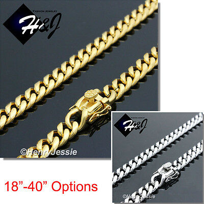 """30/""""MEN Stainless Steel 7x3mm Silver Miami Cuban Curb Link Chain Necklace"""