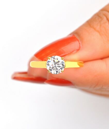 wunderbar Runden 2,10 Karat Form 585er Solide Gelbgold Solitär Verlobung Ring