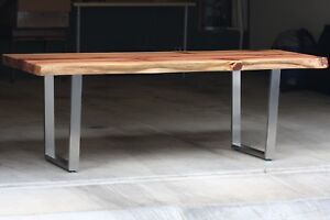 Details About Live Edge Redwood Dining Table With Steel Legs 74 X 40 4