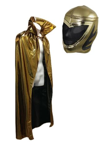 """Lucha Libre Adult Halloween 54/"""" Gold Cape /& Gold Mask combo costume"""