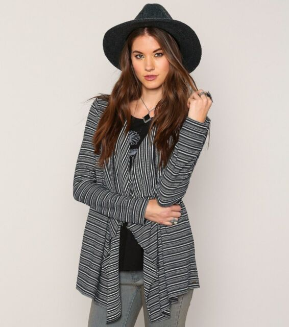 O'Neill Women Harvey Black Striped Long Sleeve Shrug Sweater Sz Small