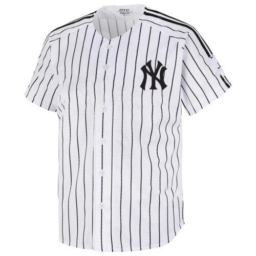 NY New York Yankees Button Jersey Striped Baseball Open T-Shirt Uniform Tee 0110