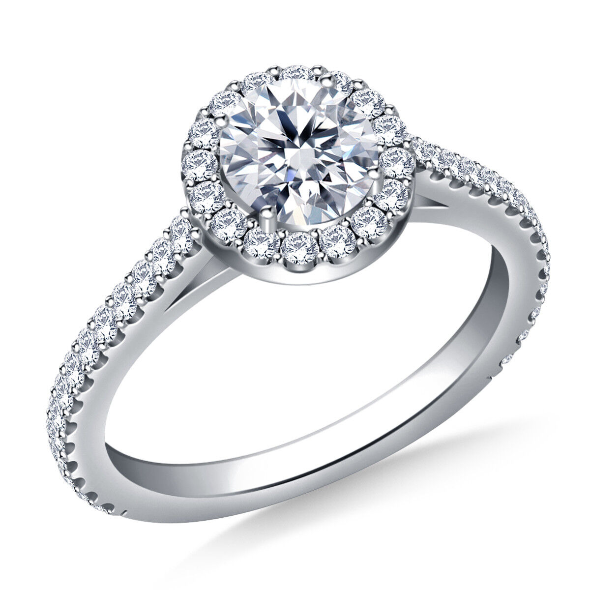 0.98 Ct Round VVS1 Diamond Engagement Ring 14K Solid White gold Size 6, 6.5, 7