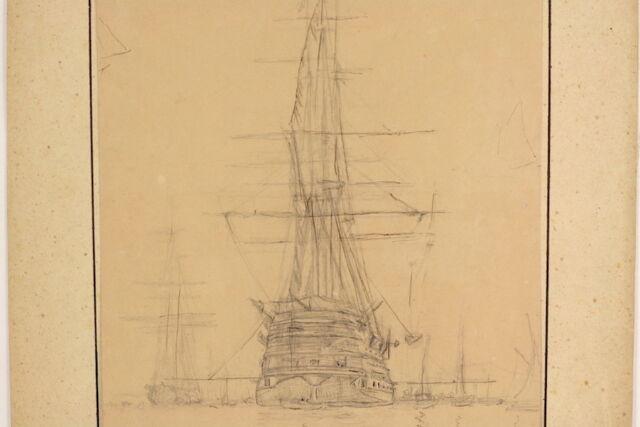 Anton MELBYE (1818-1875): Im Hafen Ankernder Dreimaster Denmark Schiff Denmark