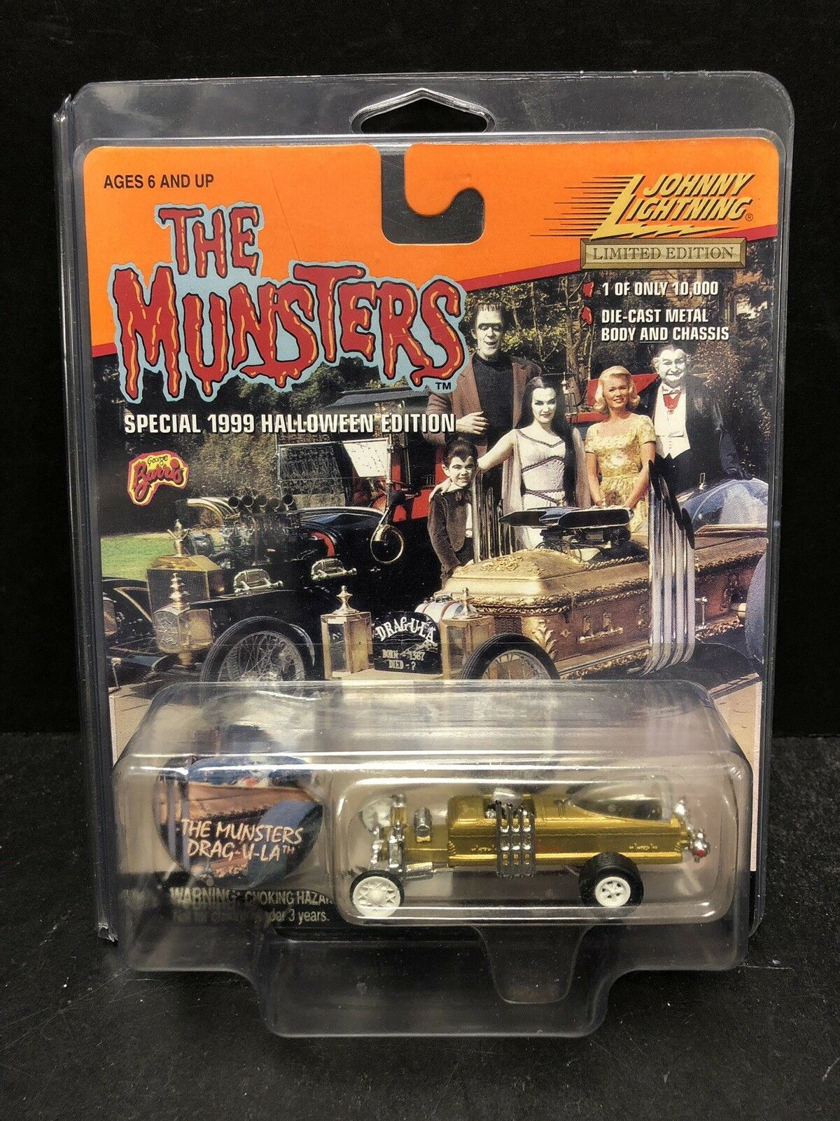 Johnny Lightning The Munsters Drag-U-La bianca Lightning With Protector ATL0710