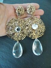 Gold and Crystal Baroque Style Statement Earrings -UK SELLER