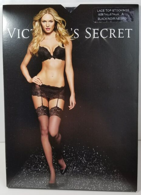 c9d4c8a08 Victoria s Secret Lace Top Stockings Size a Black A6 for sale online ...